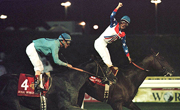 Cigar-360 - 27 mar 1996: jerry bailey on cigar (#8, nearest fence) edges out soul of the matter to win the $4 million dubai world cup race in the united arab emirates by a half-length. horse of the year cigar claimed the $2.4 million first prize with its