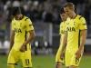 Erik Lamela l and Harry Kane r look dejected against Partizan Belgrade