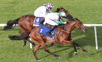 DEAUVILLE RIDDEN BY JOSEPH O'BRIEN WINNING THE JAPANESE RACING ASSOCIATION TYROS STAKES FROM SANUS PER AQUAM RIDDEN BY KEVIN MANNING, FAR SIDE, 2ND.