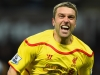 BIRMINGHAM ENGLAND JANUARY 17 Rickie Lambert of Liverpool celebrates scoring their second goal during the Barclays Premier League match between Aston Villa and Liverpool at Villa Park on January 17 2015 in Birmingham England Photo by Laurence Gr
