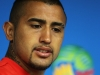 SAO PAULO BRAZIL JUNE 22 Arturo Vidal listens to a question during the Chile Press Conference at the 2014 FIFA World Cup Brazil held at the Arena de Sao Paulo on June 22 2014 in Sao Paulo Brazil Photo by Dean MouhtaropoulosGetty Images