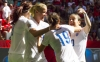 VANCOUVER BC JUNE 27 Jodie Taylor #19 of England celebrates her goal against Canada with teammates Karen Carney #10 and Steph Houghton #5 during the FIFA Women's World Cup Canada 2015 Quarter Final match between the England and Canada June 27 20