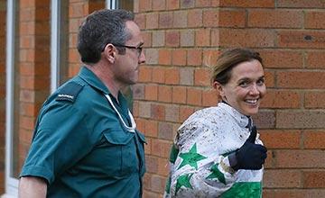 Victoria Pendleton walks to the Medical Room