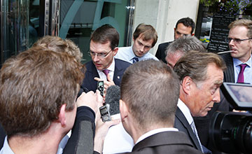 Aidan O'Brien mobbed by press