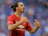 LONDON ENGLAND AUGUST 07 Zlatan Ibrahimovic of Manchester United in action during The FA Community Shield between Leicester City and Manchester United at Wembley Stadium on August 7 2016 in London England Photo by Ben HoskinsGetty Images