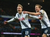 MANCHESTER ENGLAND FEBRUARY 14 Christian Eriksen L of Tottenham Hotspur celebrates scoring his team's second goal with Harry Kane of Tottenham Hotspur during the Barclays Premier League match between Manchester City and Tottenham Hotspur at Et