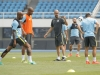 City boss Pep Guardiola leading City training in Beijing