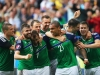 LYON FRANCE JUNE 16 Niall McGinn 3rd L of Northern Ireland celebrates scoring his team's second goal with his team mates during the UEFA EURO 2016 Group C match between Ukraine and Northern Ireland at Stade des Lumieres on June 16 2016 in Lyo