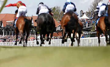 A general view as runners make their way towards the finish at Chester racecourse on May 4