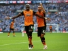 LONDON ENGLAND MAY 28 Mohamed Diame L of Hull City celebrates scoring his team's first goal with his team mate Ahmed Elmohamady R during Sky Bet Championship Play Off Final match between Hull City and Sheffield Wednesday at Wembley Stadium o