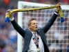 LONDON ENGLAND MAY 30 Neal Ardley manager of Wimbledon celebrates after their victory in the Sky Bet League Two Play Off Final match between Plymouth Argyle and AFC Wimbledon at Wembley Stadium on May 30 2016 in London England Photo by Jordan M