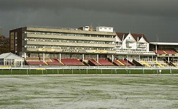Snow fell on Haydock racecourse on Friday morning