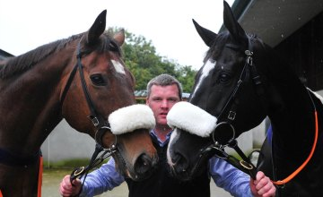 Gordon Elliott with Silver Birch (left) and Don Cossack