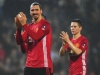 BLACKBURN ENGLAND FEBRUARY 19 Zlatan Ibrahimovic 9 and Ander Herrera of Manchester United 21 applaud the crowd after victory in The Emirates FA Cup Fifth Round match between Blackburn Rovers and Manchester United at Ewood Park on February 19 201