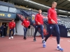 Goalkeepers Jack Butland and Joe Hart walk out at Hampden Park