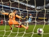 Man City's Sergio Aguero finds the net