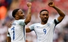 Jermaine Defoe celebrates with Raheem Sterling