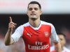 LONDON ENGLAND MAY 07 Granit Xhaka of Arsenal celebrates scoring his sides first goal during the Premier League match between Arsenal and Manchester United at the Emirates Stadium on May 7 2017 in London England Photo by Richard HeathcoteGetty