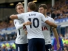 Harry Kane and Christian Eriksen celebrate a Spurs goal at Everton