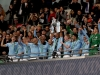LONDON ENGLAND FEBRUARY 25 Vincent Kompany of Manchester City lifts the trophy as Manchester City celebrate after winning the Carabao Cup Final between Arsenal and Manchester City at Wembley Stadium on February 25 2018 in London England Photo by