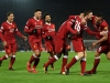 LIVERPOOL ENGLAND JANUARY 14 Sadio Mane of Liverpool celebrates with team mates after scoring the third Liverpool goal during the Premier League match between Liverpool and Manchester City at Anfield on January 14 2018 in Liverpool England Photo