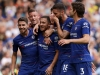 Chelsea celebrate an Eden Hazard goal against Cardiff