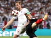 MOSCOW RUSSIA JULY 11 Harry Kane of England challenge for the ball with Luka Modric of Croatia during the 2018 FIFA World Cup Russia Semi Final match between England and Croatia at Luzhniki Stadium on July 11 2018 in Moscow Russia Photo by Ryan